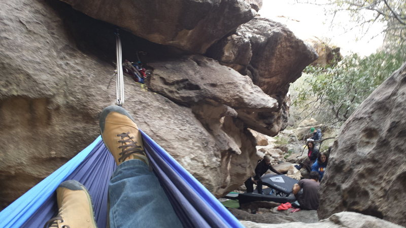 A tricam and #3, the hammock and a break from the rock at Hueco Tanks!