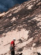 Rock Climbing Photo: J. Connell leading up Pitch 1. M. Ward belaying at...