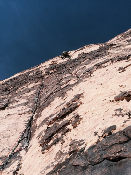 Rock Climbing Photo: J. Connell Leading Pitch 2, just beyond the initia...