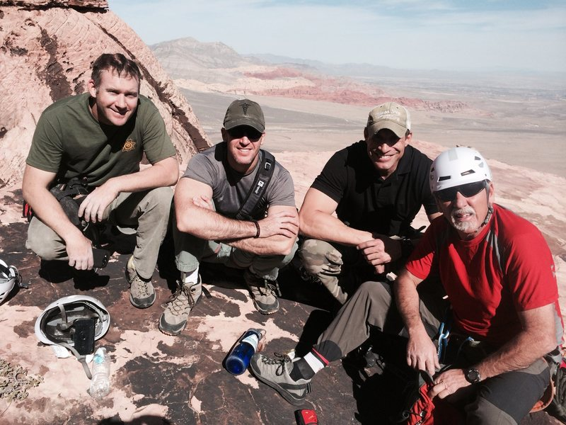 Rock Climbing Photo: Taking a break at the top of pitch 5.