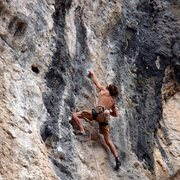 Rock Climbing Photo: Crux! Just before falling...