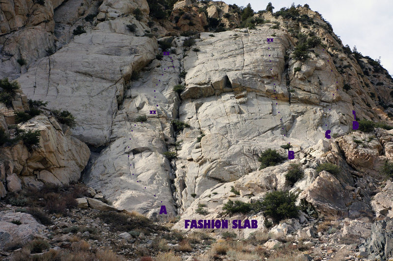 Fashion Slab Overview (not all routes are shown)<br> A. Merman 5.7<br> B. Blue Steel 5.10b<br> C. Catwalk 5.10a<br> D. Prada 5.8