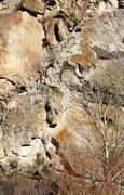 Rock Climbing Photo: Garrett Froelich three quarters of the way up Spar...