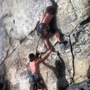 Rock Climbing Photo: Some good crack action on this climb. Working the ...