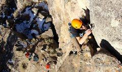 Rock Climbing Photo: David Reichel climbing Swallowed.
