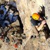 David Reichel climbing Swallowed.