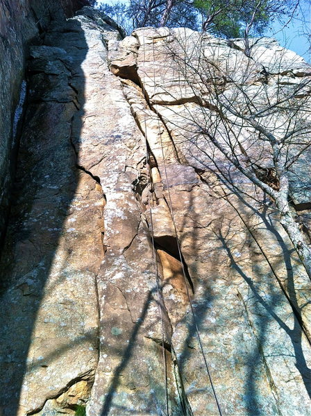 Exposed Aggregate can be seen almost directly in-line with rope in picture.  Follows parallel cracks to top.