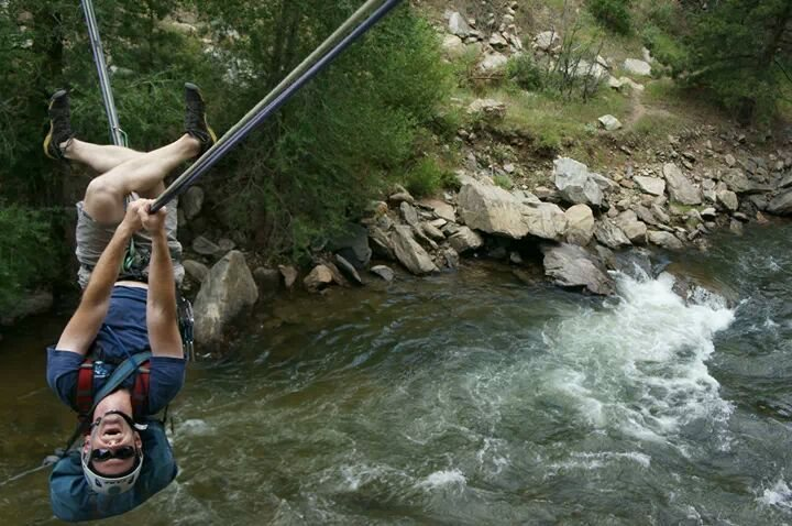 Tyrolean traverse in Clear Creek Canyon, CO
