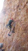 "Rock Climbing Photo: Working the moves near the start of ""Darjeeli..."