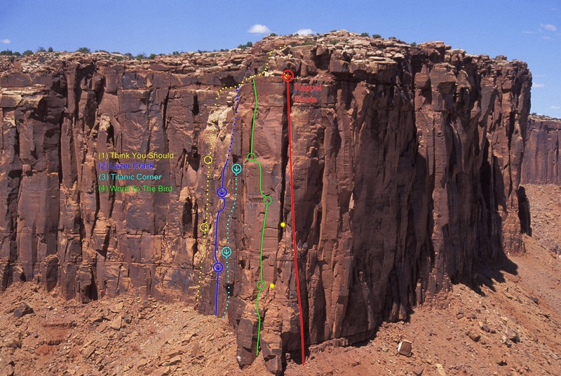 These Rim Routes are located on this west facing wall...