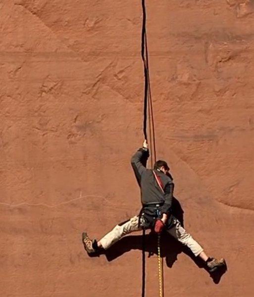 Rock Climbing Photo: Bear Grylls on a hard lead...eh...mock lead...