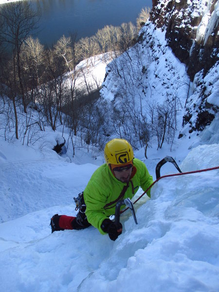 Topping out Main Gully, The Narrows.