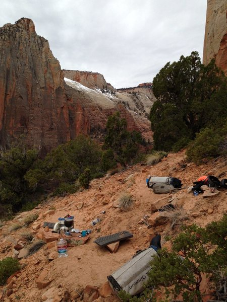 Bivy at First Ledges on Tricks of the Trade.