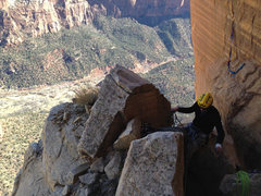 Rock Climbing Photo: Belaying on top of pitch 16.