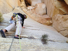 Rock Climbing Photo: Final pitch traverse above anchor. Pitch 18.