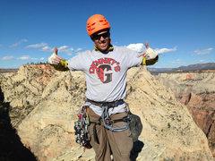 Rock Climbing Photo: Denney's Demons shirt on top. Denney is battling c...