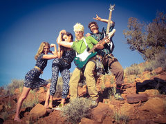 Rock Climbing Photo: Post send parties with models in Moab