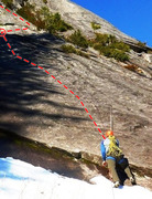 Rock Climbing Photo: The start of Magic Bus in early season.  The &quot...