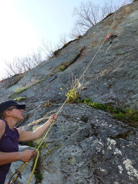 Rock Climbing Photo: Climb right of the flake.  Memorial Day 2013.