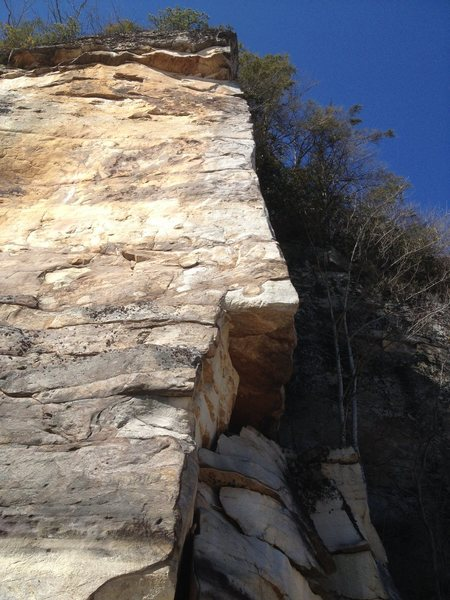 This looks like a great route, and it is! But you actually climb on the right side of the arete.