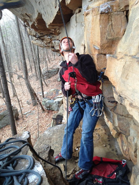 Belayer anchored in on AR