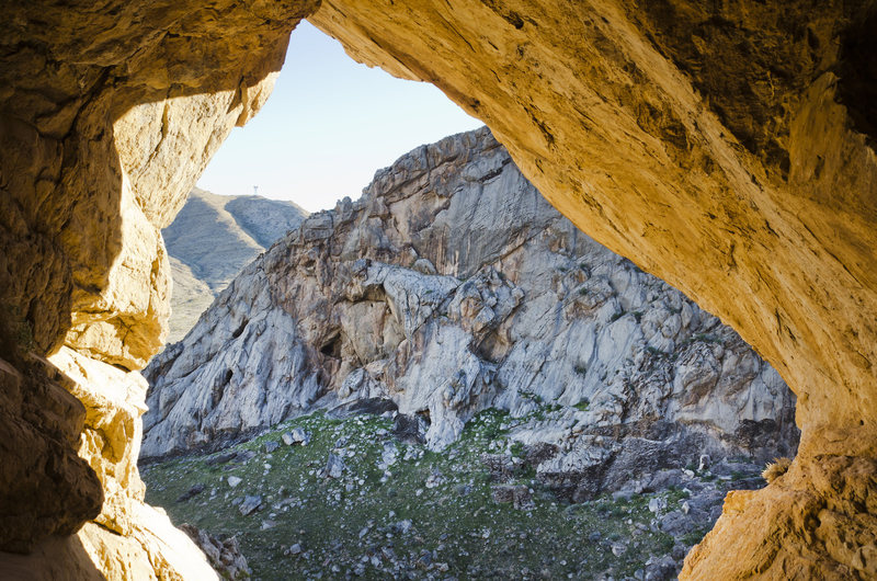 Campsite Crag as seen from the cave across the canyon
