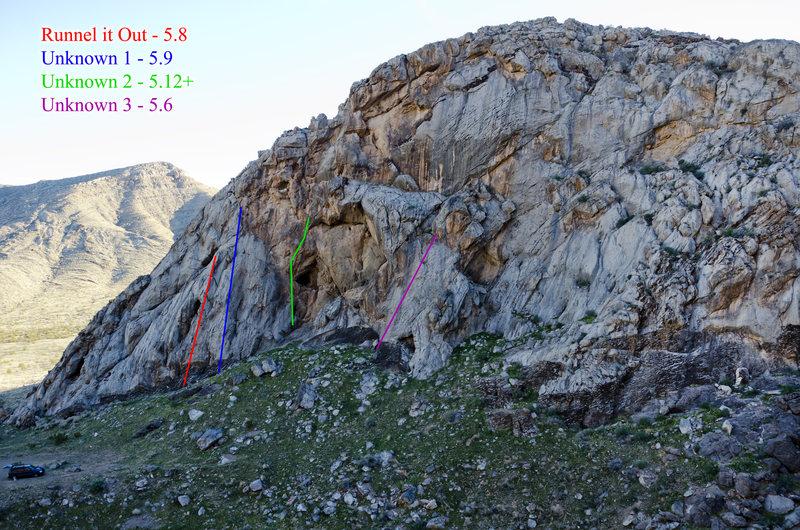 Topo for the four routes found on Campsite Crag