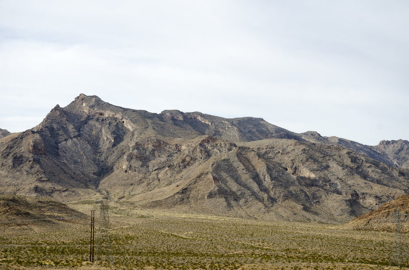 Mormon Mountains as seen from the dirt road on the way there.