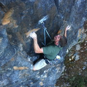 Rock Climbing Photo: Bill Price topping out on Remember 9.11 (pitch 1) ...
