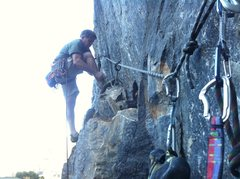 Rock Climbing Photo: bill price lacing up for pitch 2, twin towers. aub...