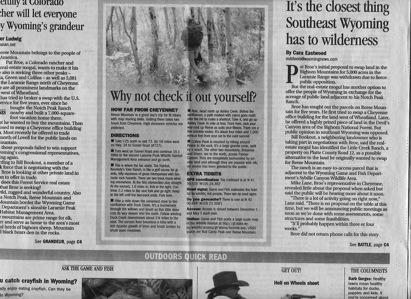 Cheyenne Eagle account of Pat Broe's efforts to buy public lands of Reese Mtn pg2