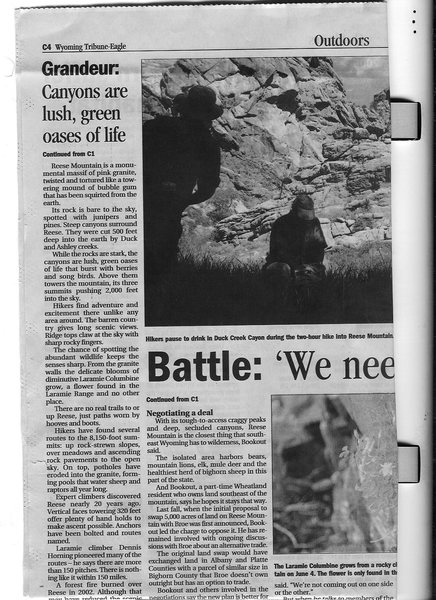 Cheyenne Eagle account of Pat Broe's efforts to buy public lands of Reese Mtn pg3