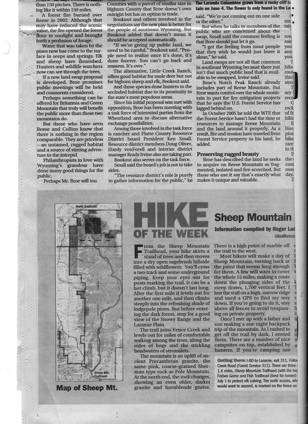 Cheyenne Eagle account of Pat Broe's efforts to buy public lands of Reese Mtn pg 4