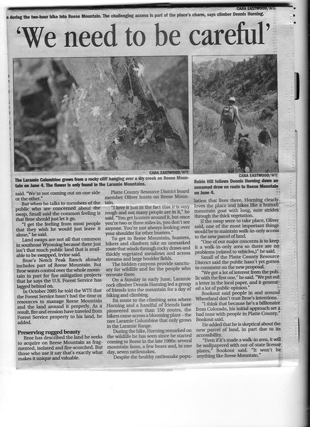 Cheyenne Eagle account of Pat Broe's efforts to buy public lands of Reese Mtn pg 5