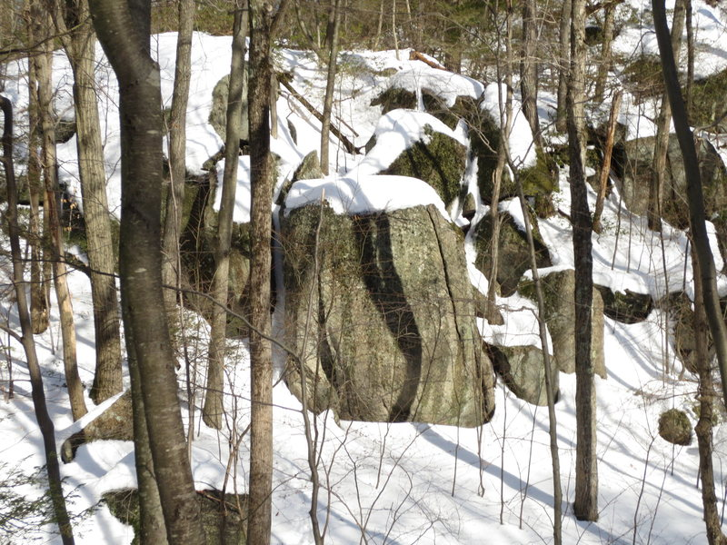 Rock Climbing Photo: Boulder in gully at top of hill...