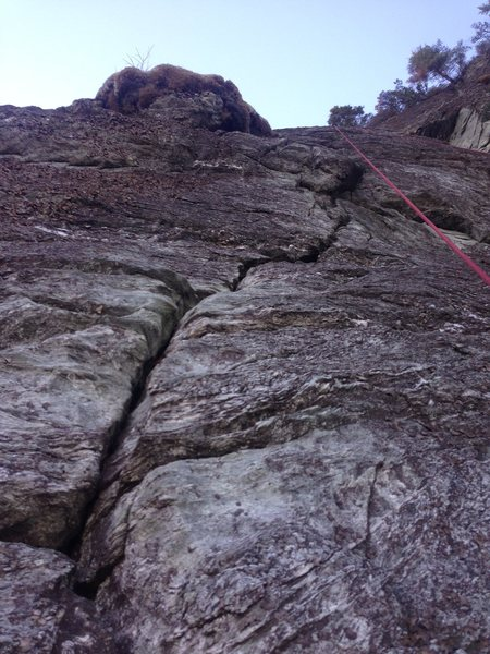 The beginning of the crack on pitch two.