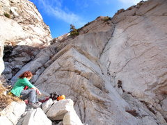 Rock Climbing Photo: A pic of the start, to help you find it. The route...