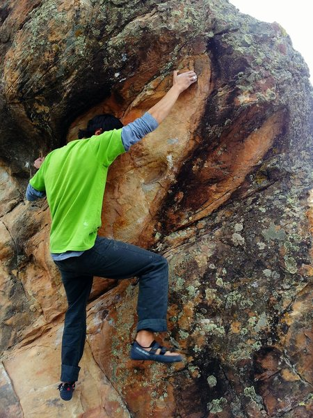 Rock Climbing Photo: Dakota Woodie on a nice boulder (name?) sitting to...
