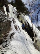 Rock Climbing Photo: Alain Denis moving delicately on 'Jersey Milk'