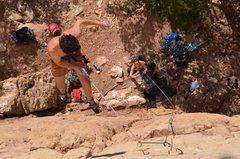 Rock Climbing Photo: Ben taking a little fall on M&M.