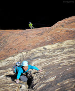 Rock Climbing Photo: Vicky Su way the hell up there on Inti.  Photo by ...