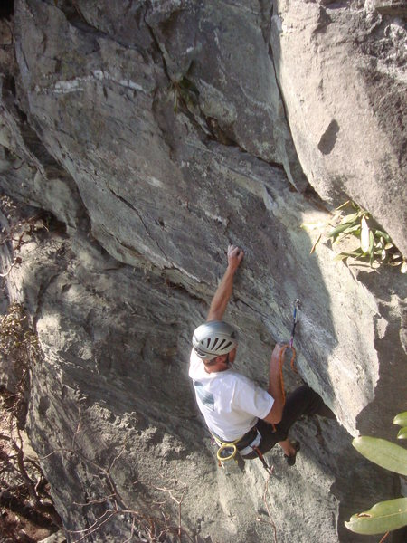 Rock Climbing Photo: Pulling through the crux section.