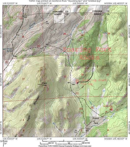 A map of the region around the Roaring Fork Rocks
