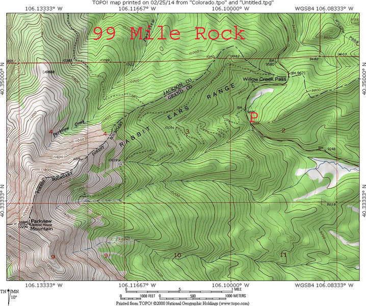 Rock Climbing Photo: Map of region near the Willow Creek Pass Fin.