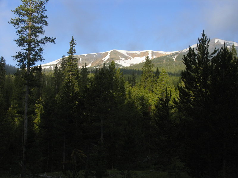 The often snow covered Parkview Peak is just to the west.