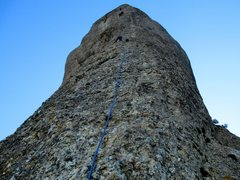 Rock Climbing Photo: The first climber (blue rope) is at the anchor ato...