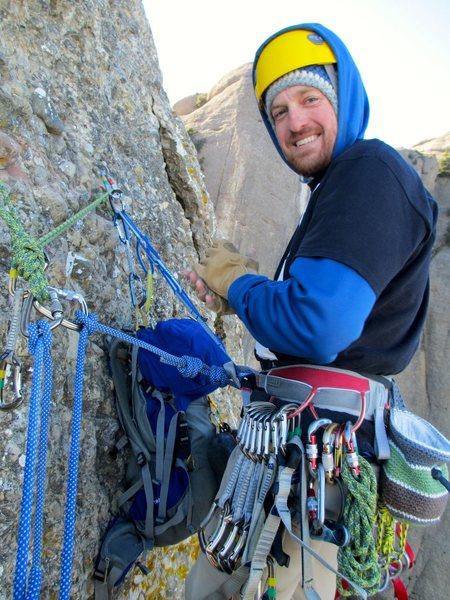 Rock Climbing Photo: Enjoying a cool winter day atop pitch 4.