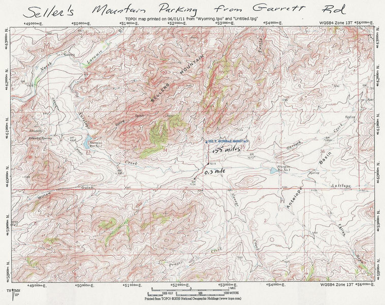 MAP 2:  Leaving the Garrett Rd, crossing private land and gaining access  to Sellers Mountain BLM public land.