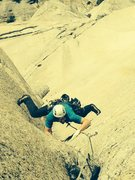Rock Climbing Photo: Seconding top crux.  Too much fun