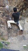 Rock Climbing Photo: Me trying Slash X Boulder